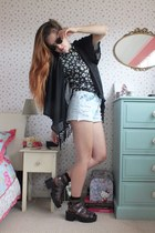 black kimono Clothesminded jacket - light blue denim Primark shorts