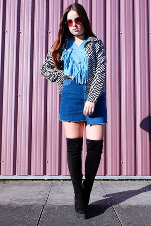 sky blue fringed charity shop top - black thigh high Primark boots