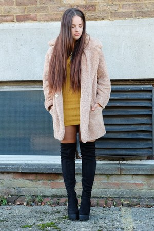 black thigh high Primark boots - mustard knitted Forever Modo dress
