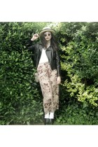 black Sunny Girl jacket - beige Wish Denim top - brown vintage pants - light pin