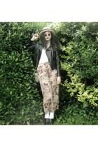 black Sunny Girl jacket - beige Wish Denim top - brown vintage pants - light pin