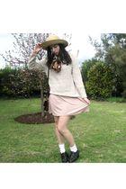 pink Valleygirl dress - beige vintage sweater - black vintage shoes - red vintag