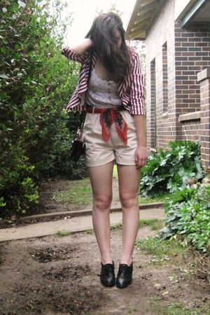 beige Sportsgirl shorts - red Sunnygirl blazer - red vintage scarf - black vinta