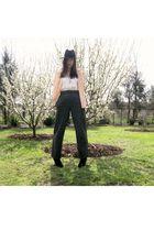gray vintage pants - beige Sportsgirl top - pink vintage top