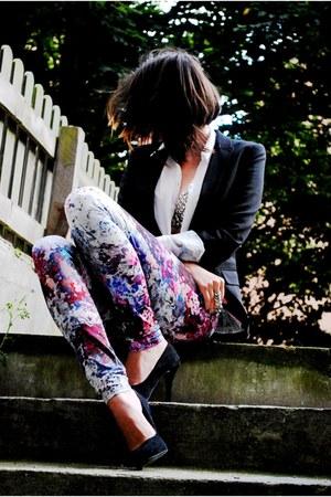 H&M leggings - H&M blazer - romwe shirt - romwe bra - Bershka heels
