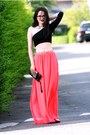 Hot-pink-h-m-skirt-maroon-h-m-flats-top-necklace