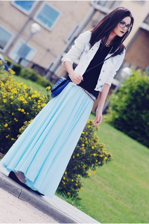 sky blue Chicwish skirt - light blue Choies jacket - black romwe t-shirt