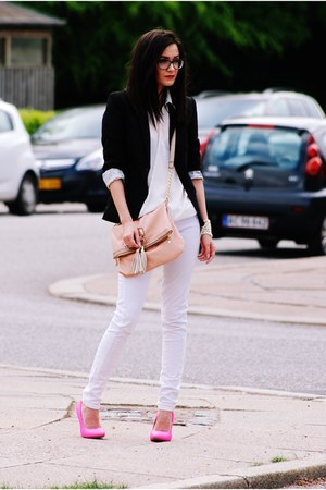 hot pink Local store heels - black H&M blazer - white romwe shirt