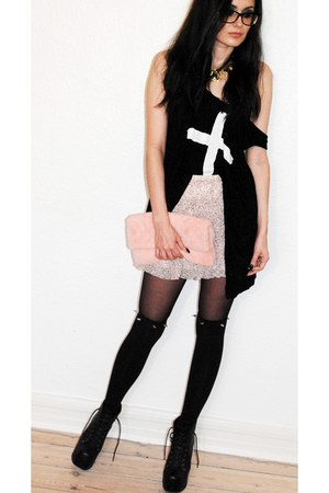 romwe top - Jeffrey Campbell boots - Front Row Shop bag - Front Row Shop socks