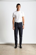 cream American Apparel t-shirt - navy regular fit 100 American Apparel jeans