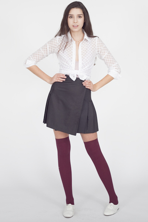 white American Apparel shirt - gray American Apparel skirt - red American Appare