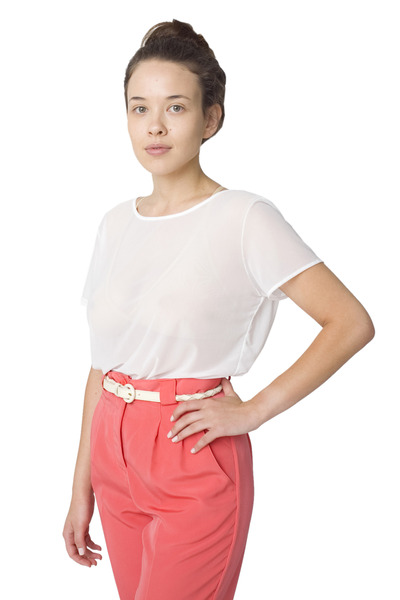 white American Apparel top - pink American Apparel panties