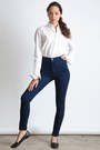 White-american-apparel-shirt-navy-american-apparel-pants