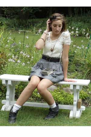 white Charlotte Russe top - gray Forever21 skirt - white vintage socks - gray Ma