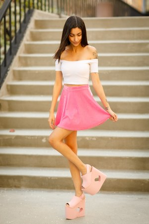 white American Apparel shirt - bubble gum velvet skirt skirt