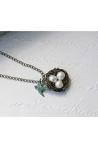 Bird Nest and Sparrow Necklace - Antique Brass
