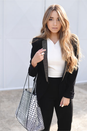 black and white Parfois bag - bcbg max azria blazer