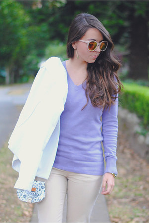 handmade purse - violet Roxy sweater - mirrored Parfois sunglasses