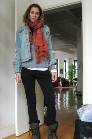 Jcrew sweater - Jcrew jacket - forever 21 jeans - boots - natura scarf