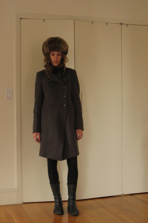 Chinatown hat - scarf - coat - H&M tights - shoes