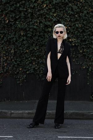 hm jacket - blyszak sunglasses - black H&M pants