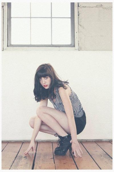 black heels Alexander Wang heels - black shorts BDG shorts - downtown blouse