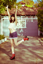 Jeffrey Campbell boots - Siwy Denim shorts - fringe crop top Forever 21 top