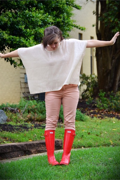 red rain boots Hunter boots - white sequin Forever 21 shirt - Forever 21 pants