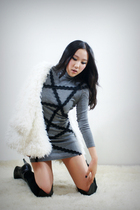 white style2bb3 jacket - gray style2bb3 dress - black style2bb3 shorts - black s