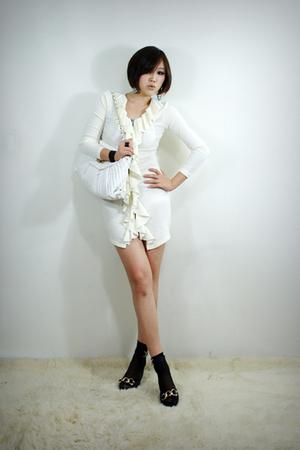 white 2BB3 dress - white 2BB3 purse - black 2BB3 shoes - black 2BB3 socks - blac