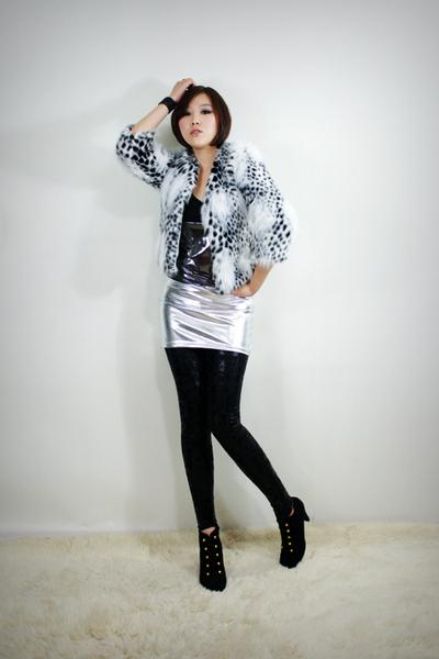 silver 2BB3 dress - white 2BB3 jacket - black 2BB3 leggings - black 2BB3 shoes