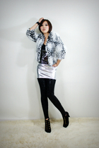 silver 2BB3 dress - white 2BB3 jacket - black 2BB3 leggings - black 2BB3 shoes