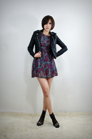 black 2BB3 jacket - purple 2BB3 dress - black 2BB3 shoes
