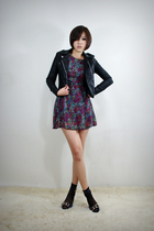 black 2BB3 jacket - purple 2BB3 dress - black 2BB3 shoes