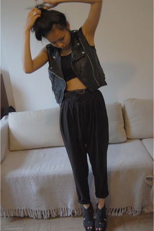 FCUK pants - waistcoat Just female - Office shoes - DIY crop top