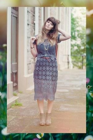 crochet vintage dress - cream beginning boutique boots