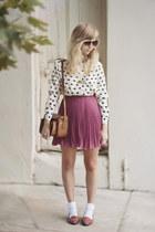 pink Love skirt - heart-print romwe shirt - vintage Shoppalu pumps