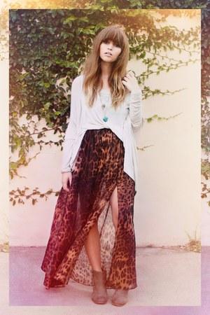 leopard print beginning boutique skirt - cream beginning boutique boots
