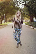 floral beginning boutique pants - striped romwe top