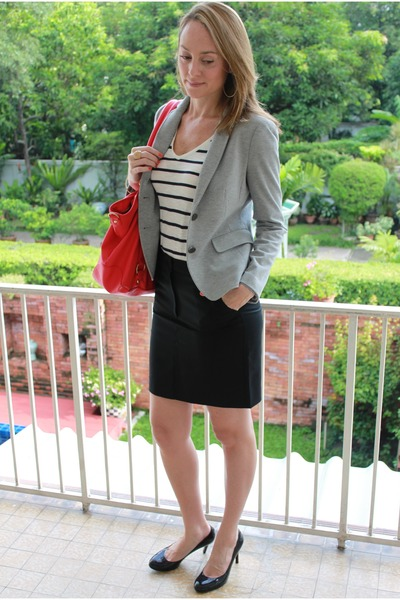 Black Pencil Skirt Mango Skirts, Periwinkle Grey Jacket G2000 ...