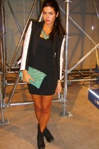 black c&a boots - H&M blazer - turquoise Primark purse