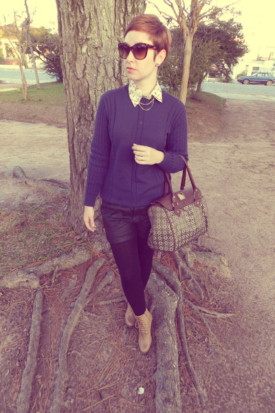 purse - boots - tights - shorts - necklace - blouse