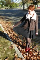 jacket - boots - dress - tights