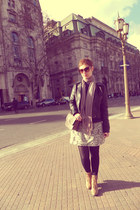 skirt - jacket - tights - scarf - bag - glasses