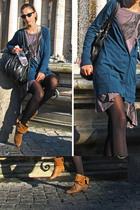 silver local brand accessories - blazer - orange Zara boots - gray Promod blouse