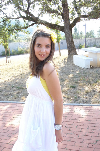 light pink watch - white cotton Bershka dress - yellow accessories