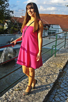charcoal gray shoes - hot pink dress - heather gray bracelet