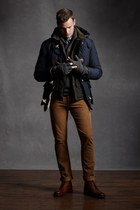 brown jeans - navy jacket - charcoal gray gloves