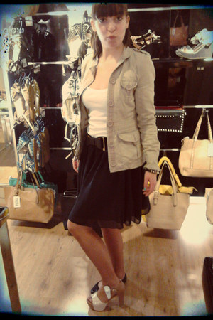 black skirt - tan coat - black belt - white top
