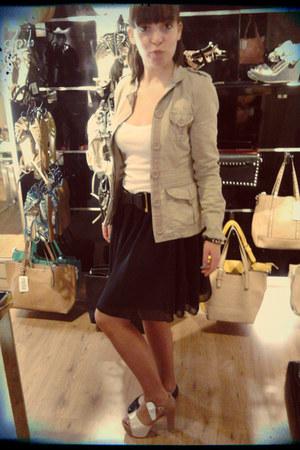 black skirt - tan coat - black belt - white top